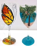 Painting on Wine Glasses - Tonight's Vintage Painting Class - 7/08/17 at 7 pm <br> ( 24 hr. rescheduling accepted, no refunds ) <br>  Please no child ( Including Infants ) under 15 allowed