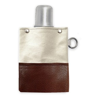 Brown & Natural Tote And Able Flask