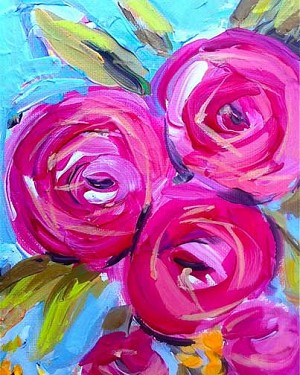 Roses for Mom - Tonight's MarqE Park Painting Class - 5/12/18 at 7 pm