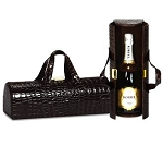 Black Croc Carlotta Wine Bottle Clutch