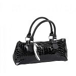 Black Crocodile Insulated Wine Purse